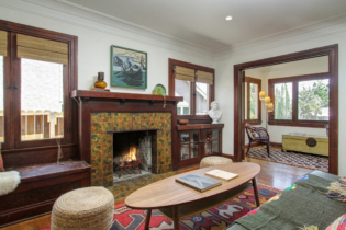 Parson Architecture Highland Park Craftsman Restoration Interior Living Room Builtins Fireplace Woodwork