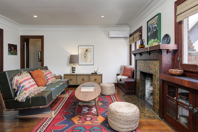 Parson Architecture Highland Park Craftsman Restoration Interior Living Room Builtins Fireplace Woodwork